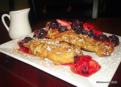 French Toast Waffle with Macerated Berries and Maple Syrup at Chhaya Café
