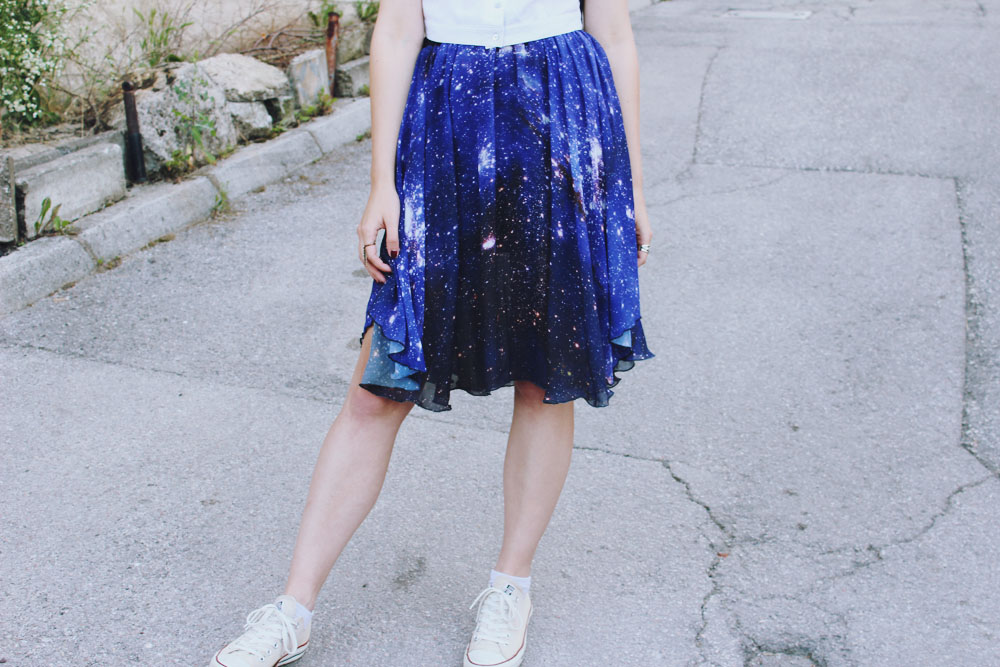 filipa canic, youarethepoet, romwe, you are the poet blog, filipa canic blog, universe printed skirt, universe,