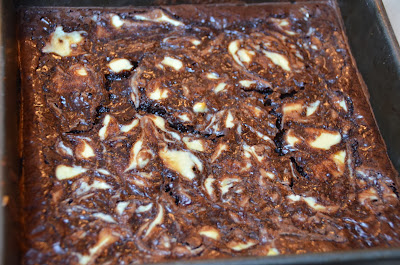 Amaretto Brownies with a Cream Cheese Swirl - Baked in Pan