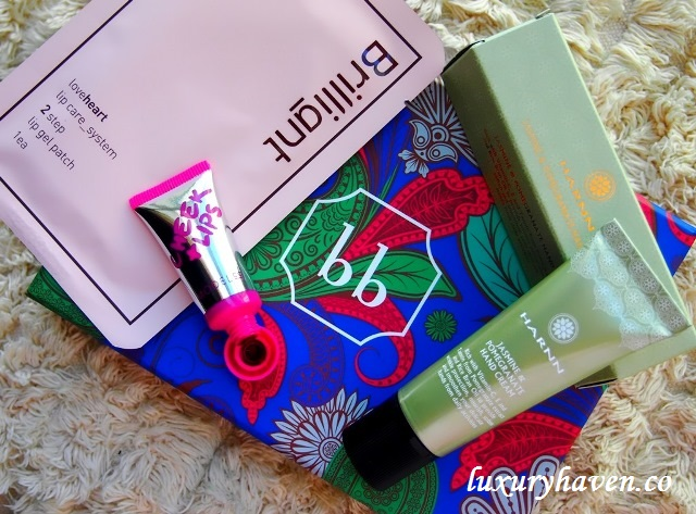 bellabox harnn hand cream, modelco cheek tint