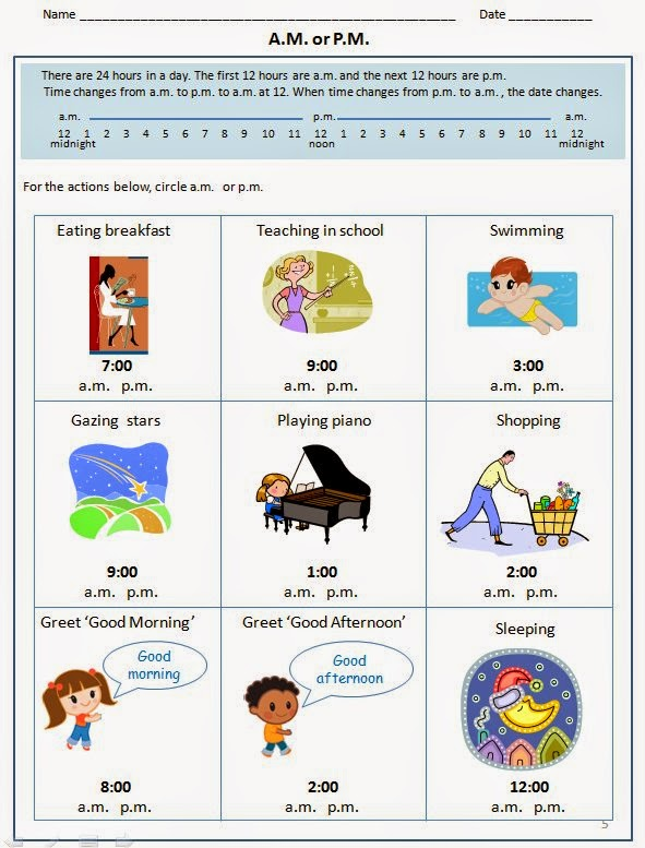 Worksheet to teach A.M. and P.M.