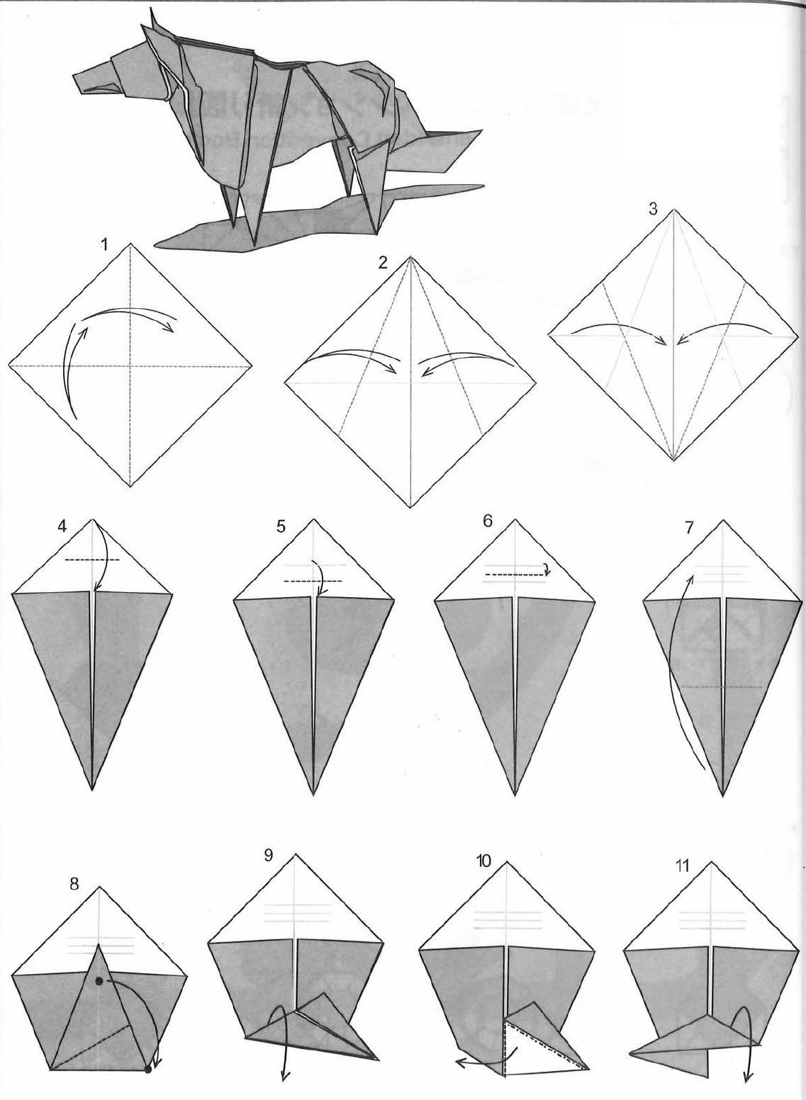 Попугай оригами из бумаги пошаговый