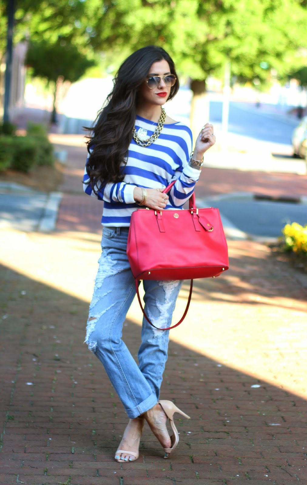 www.TheSweetestthingBlog.com, Emily Gemma, boyfriend jeans, destroyed boyfriend jeans, dittos boyfriend jeans, ripped boyfriend jeans, ripped denim, nordstrom ripped denim, striped sweater, spring sweathers, rayban aviators, tory burch handbag, red tory burch robinson tote, red tory burch purse, micheal kors runway watch, stila lipstick in beso, nude zara sandals, nude strappy sandals, gold arm party, gold bangles, red lips, long hair for brunettes, bellami hair extension, mocha chino hair extensions, summer fashion 2014, pinterest summer outfits 2014, how to wear boyfriend jeans in summer, how to wear boyfriend jeans with sweaters