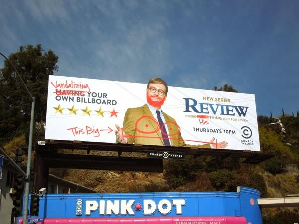 Graffitied Review Comedy Central series launch billboard