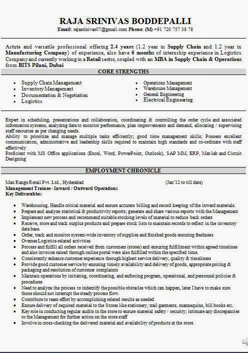 Supply Chain Management Mba Resume