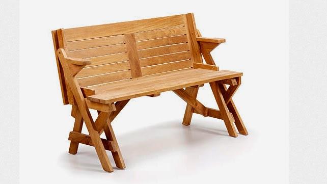 Kr banco de madera convertible en mesa para jardines y for Bancos de madera para jardin baratos