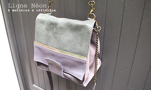 Matières à réflexion sac gris kaki métallisé Soldes accessoires cuir Mini néon