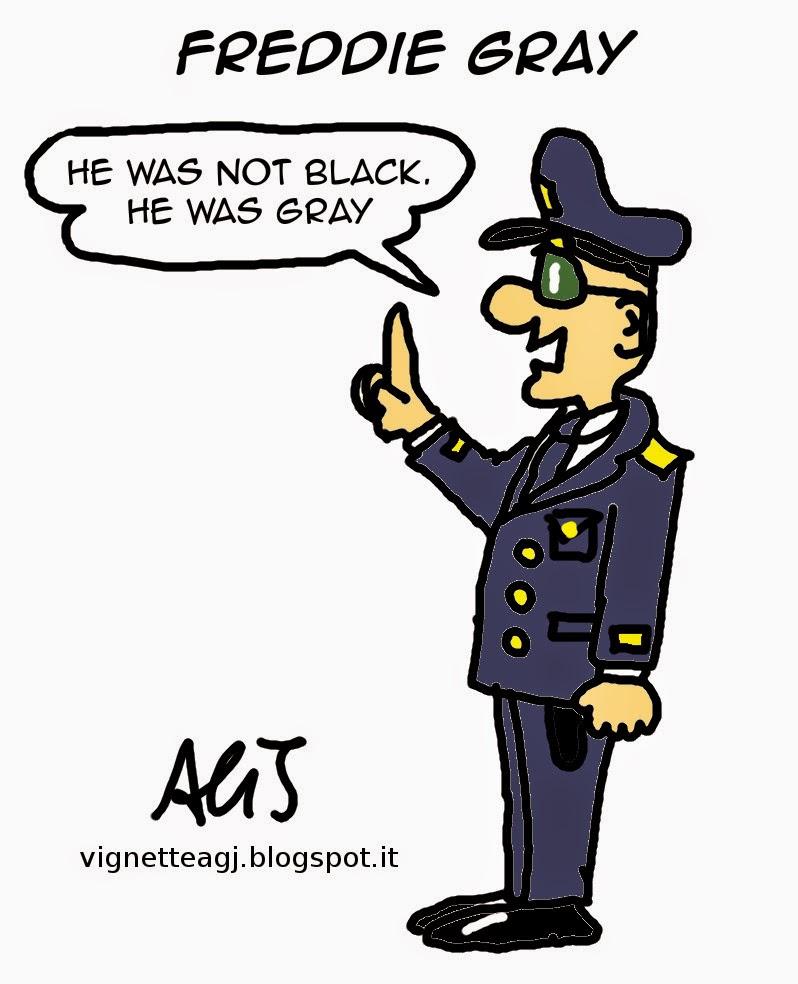 freddie gray, polizia americana, afroamericani, satira, vignetta