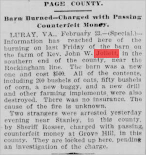 News article about burning of John Wesley Jollett's barn  http://jollettetc.blogspot.com