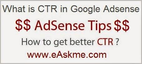 What is CTR in Adsense : eAskme