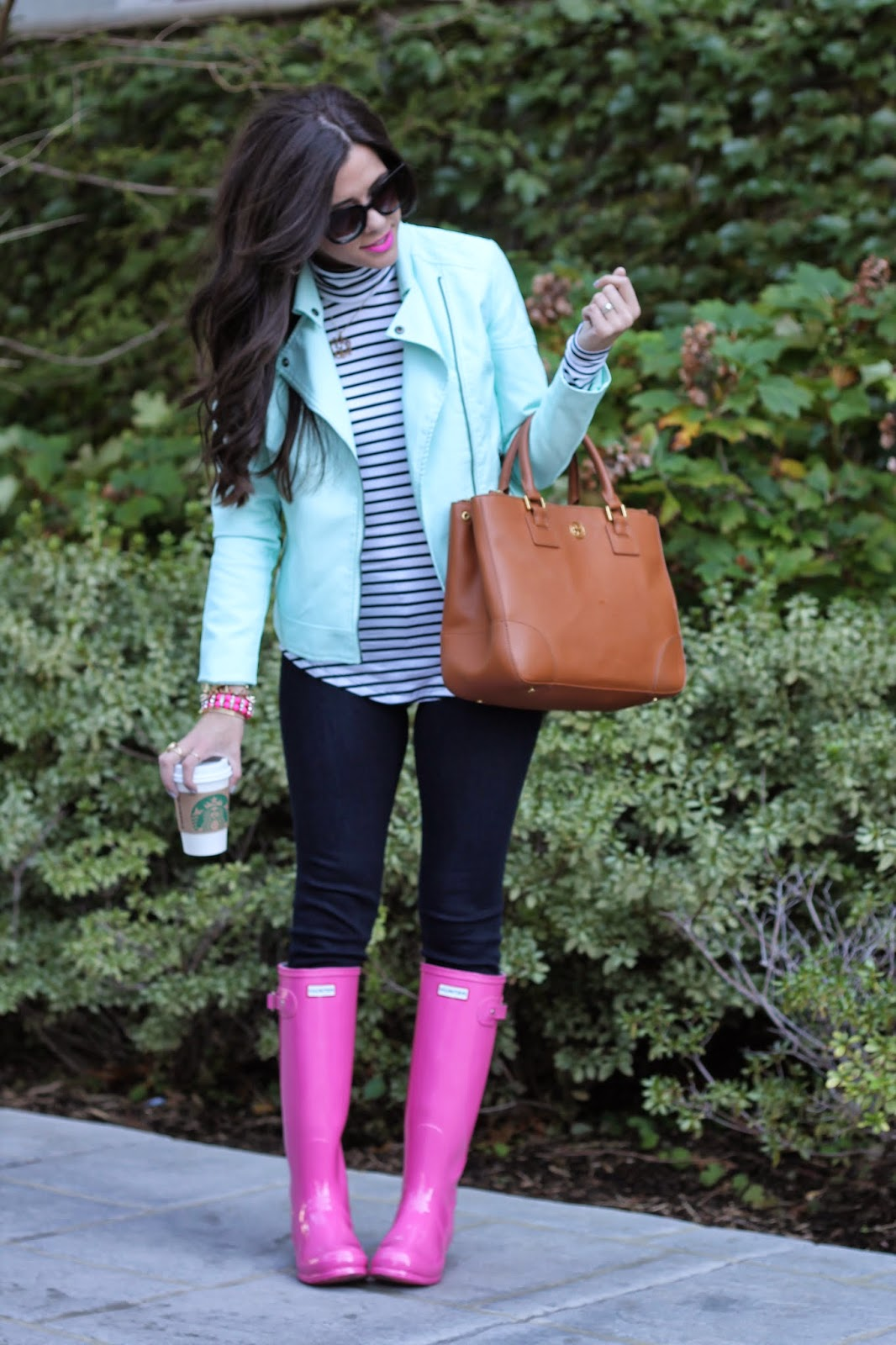 mint moto jacket, candy yum yum, jcrew, michael kors lexington, tory burch robinson tote, tory burch wallet, striped turtleneck, cat eye sunglasses, hot pink hunter boots, hunter boots, fall fashion, fall fashion pinterest, emily gemma, the sweetest thing blog, pink bracelets, rainy day fashion, hunters, pink hunters, pink wallet, tan bag