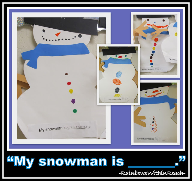 "photo of: ""My Snowman is_______"" Writing Project via RainbowsWithinReach Winter RoundUP"