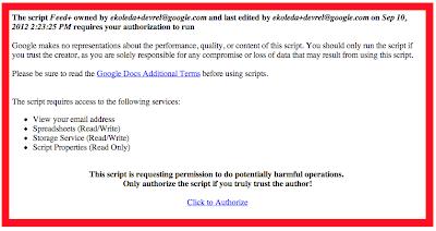 Pantalla de permisos para el feed de Google + (Plus)