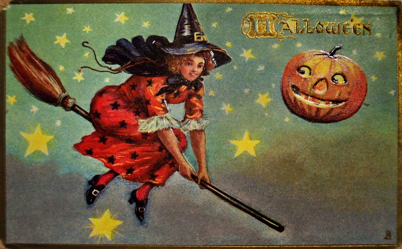 vintage halloween witch postcards c 1900s - Vintage Halloween Witches