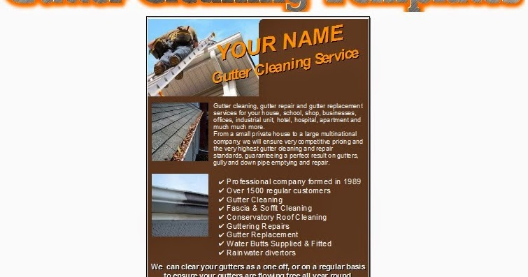 Business Templates Forms Gutter Cleaning Leaflets Flyer