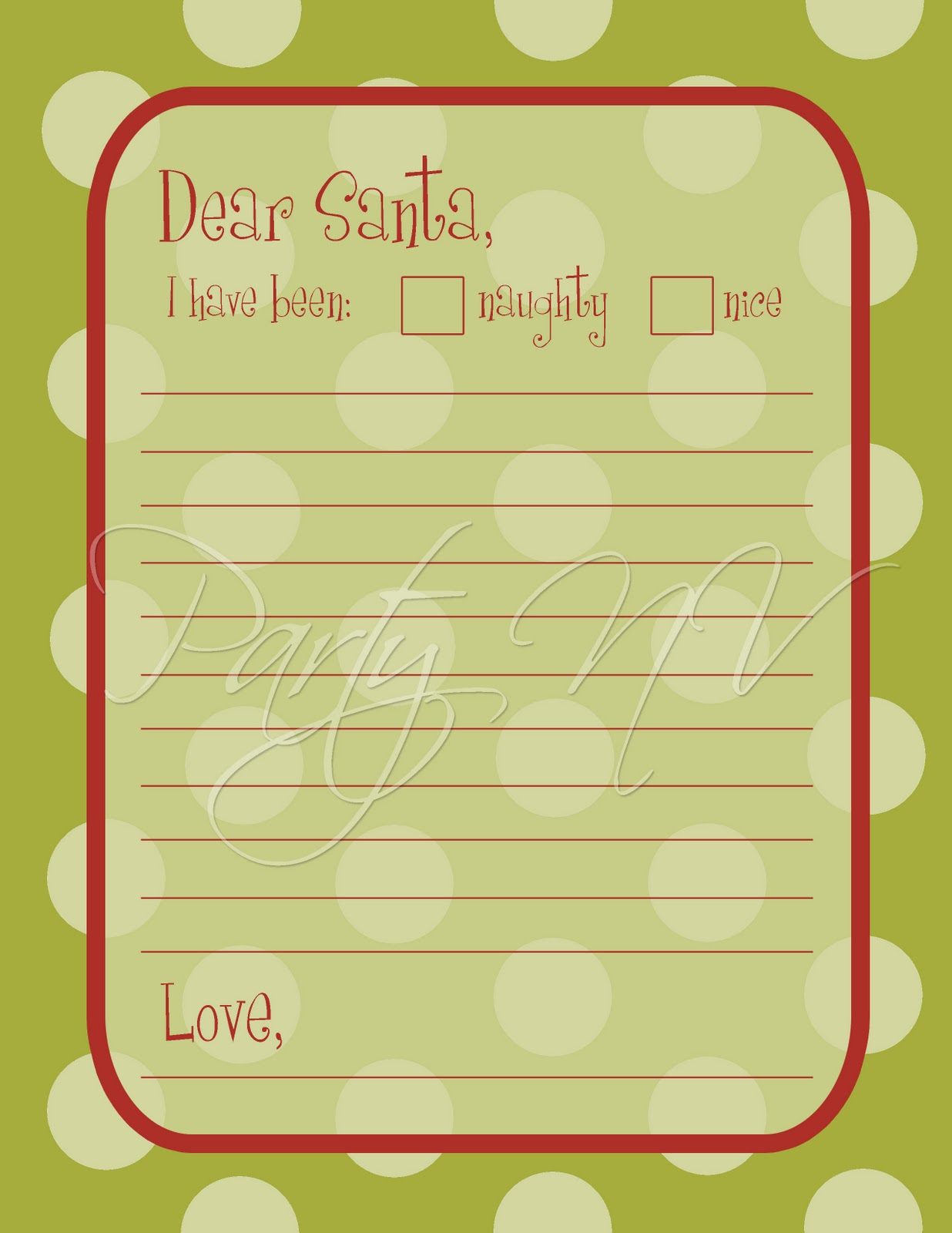 printable santa wish list template