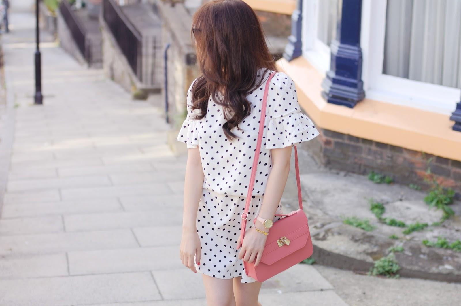 cream polka dot dress, spotty dress, british fashion blogger