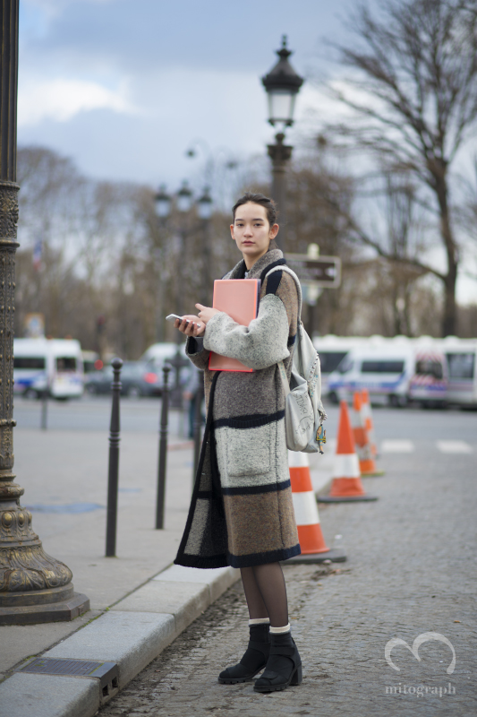 Model Mona Matsuoka (松岡モナ) at Paris Fashion Week during 2014 Fall Winter Season PFW