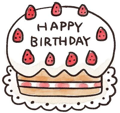 誕生日ケーキのイラスト「ハッピーバースデー」