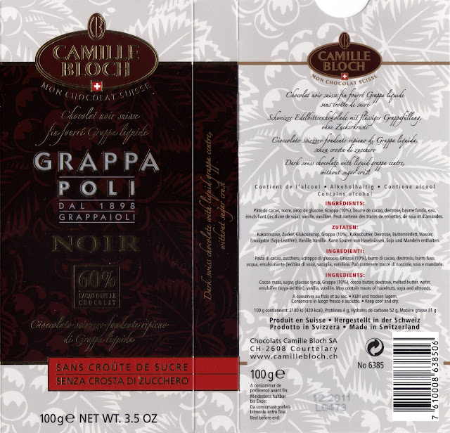 tablette de chocolat noir fourré camille bloch grappa noir 60