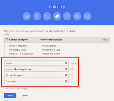 Google My Business Category Selection Form
