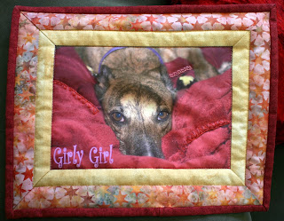Girly Girl greyhound quilt square by Peggy Voakes
