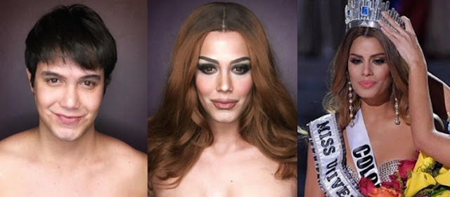 Paolo Ballesteros morphs into Miss Colombia
