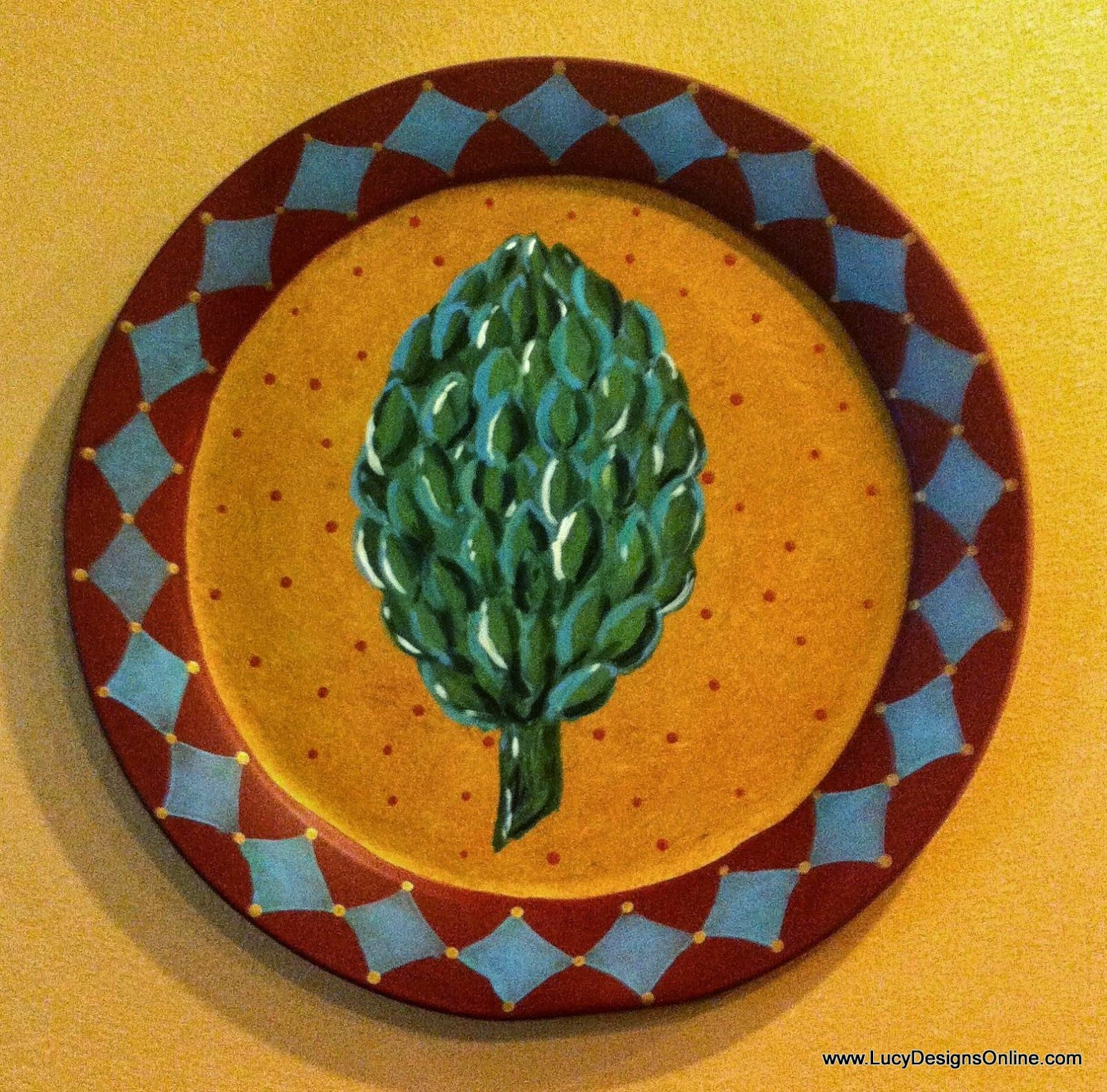 hand painted artichoke metal charger, recycled thrift store find