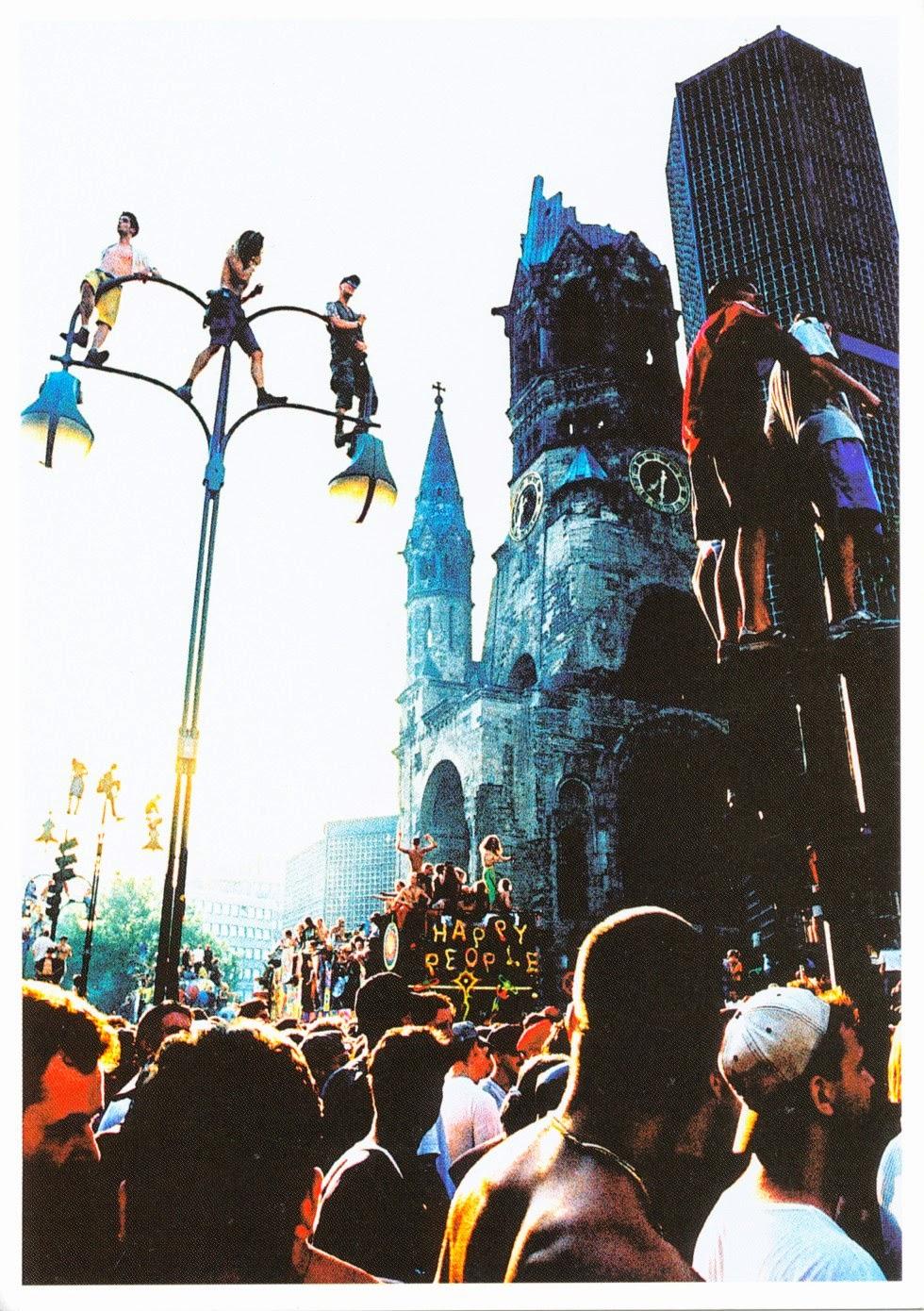 psotcard, germany, kaiser wilhelm memorial church, love parade, techno, festival