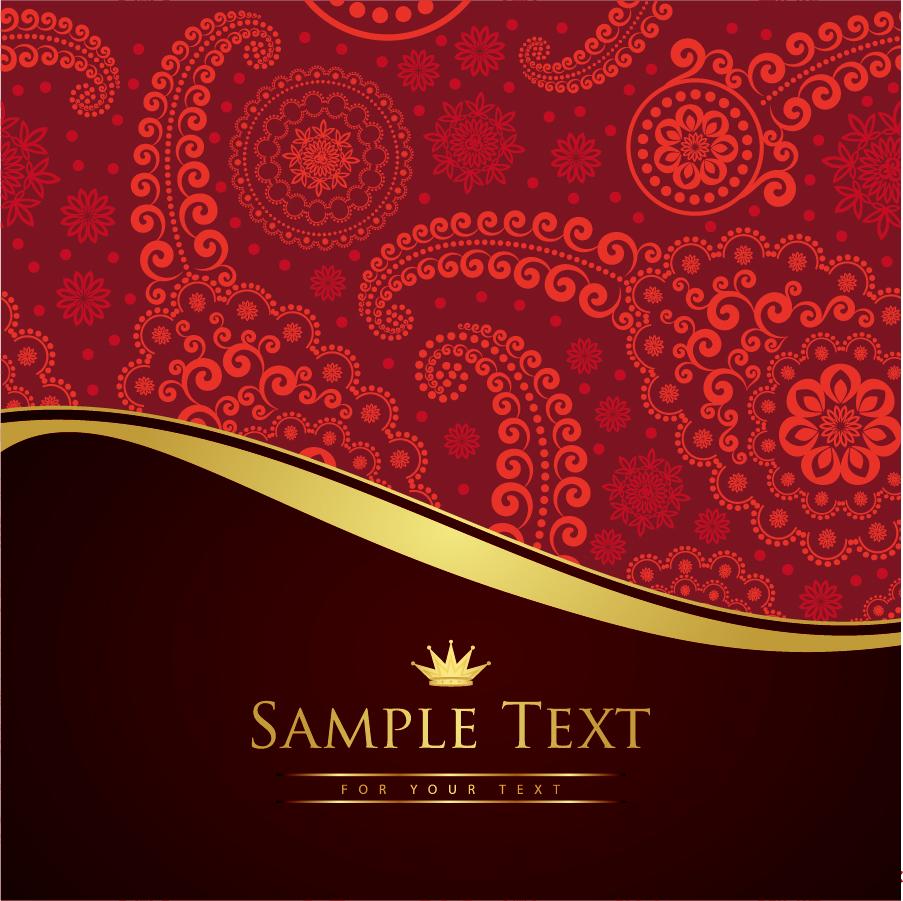 ペイズリー柄のテキストスペース paisley ornaments with a place for custom text イラスト素材
