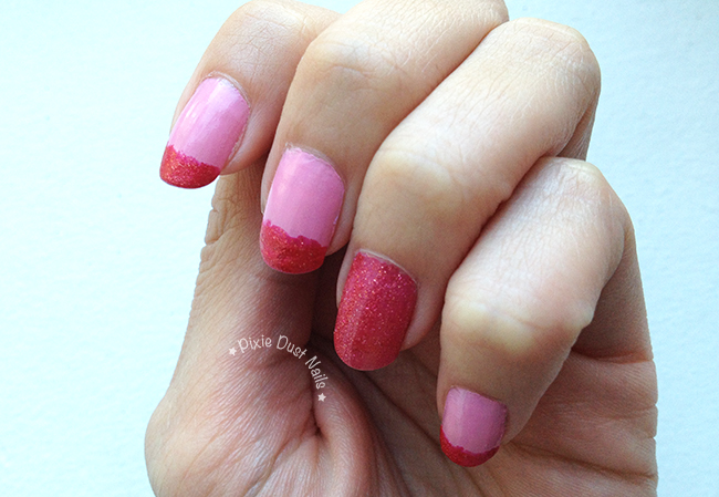 Pink Sparkly French Tip Nails