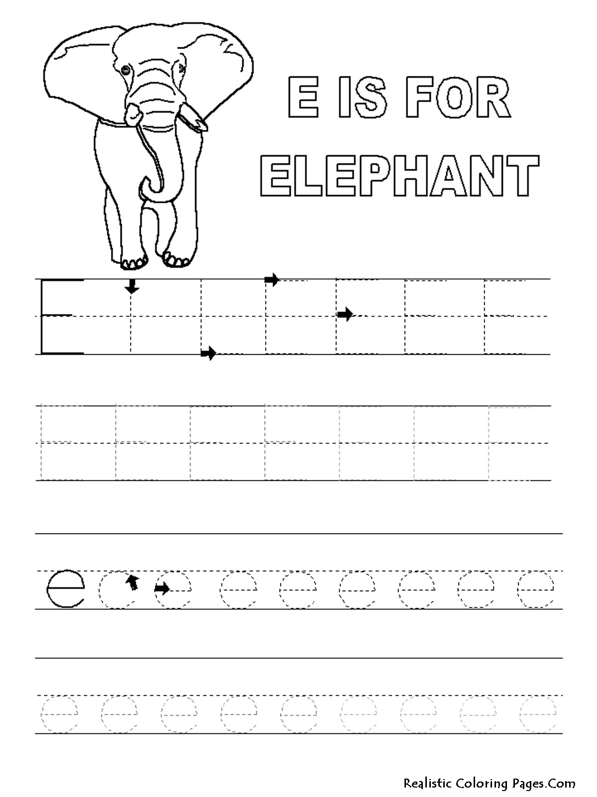E Letters Alphabet Coloring Pages