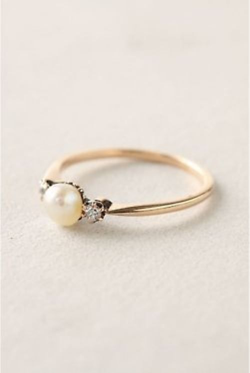 Pretty Pearl Engagement Ring