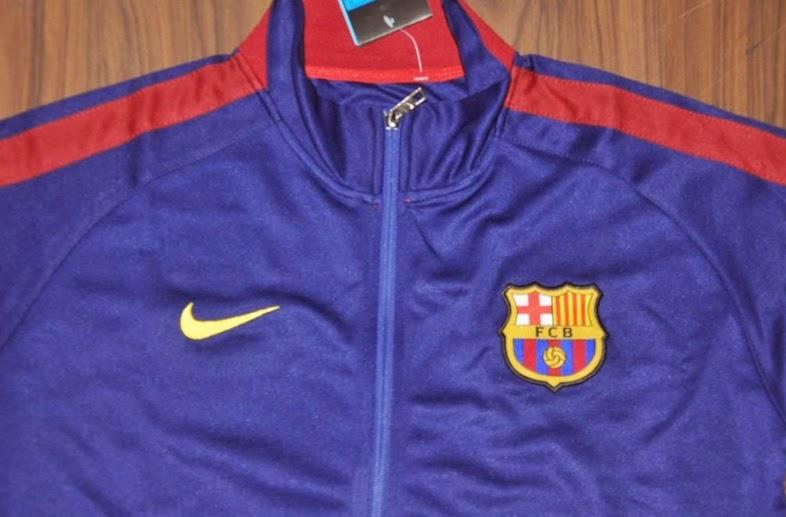 Gambar Katalog Jaket Training Bola Grade Ori Barcelona Home Biru Dongker 2014-2015