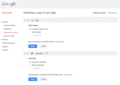 Tải Dữ Liệu Của Gmail và Google Calendar Thông Qua Google Takeout