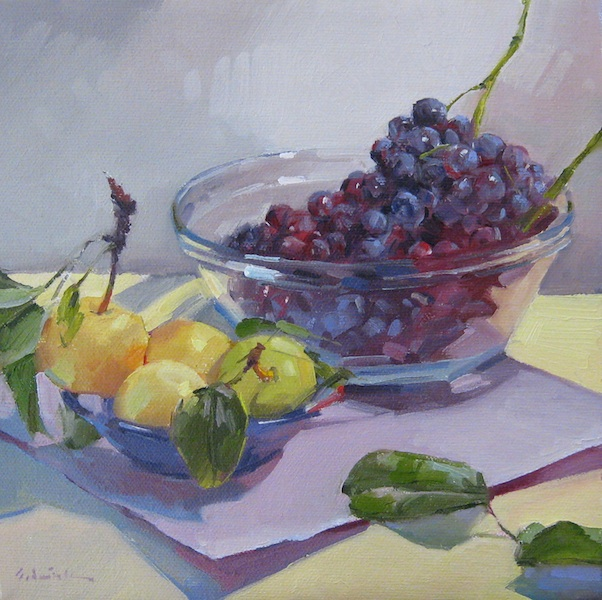 "Sedwick Studio Purple Bowl Of Plums Fruit Bowl Still: Sedwick Studio: ""Grapes And Asian Pears"" Fruit Bowl"