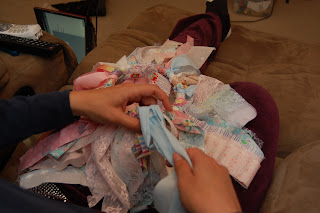 making scrap fabric tutu
