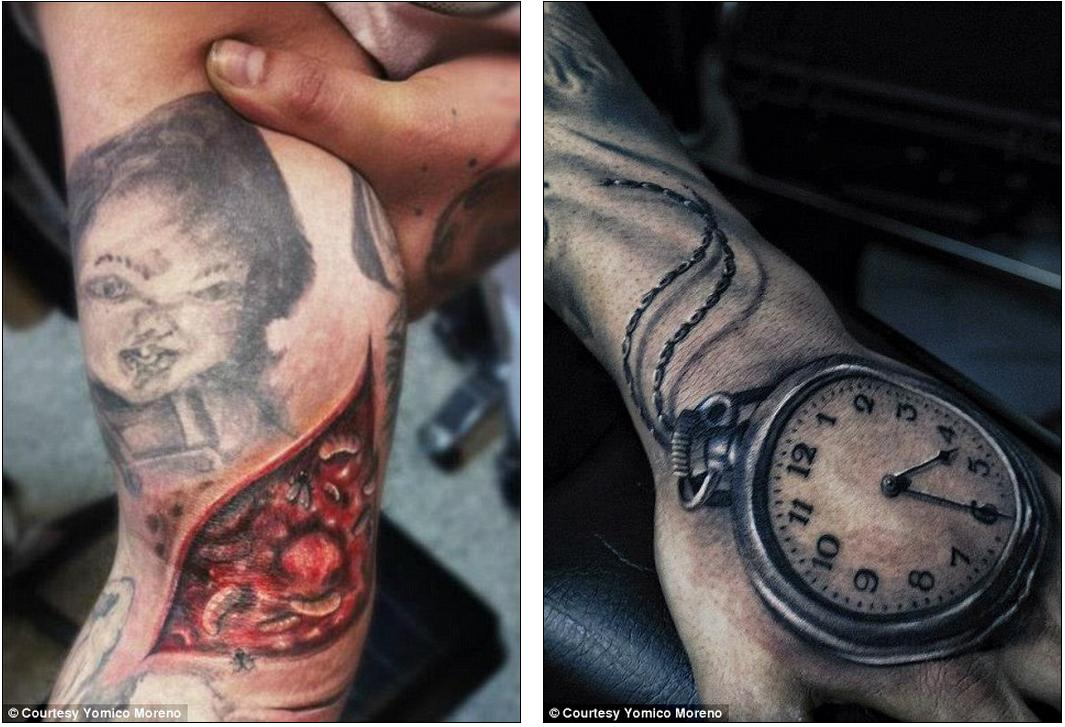 Man or machine the most hyper realistic tattoos ever for Flesh wound tattoo