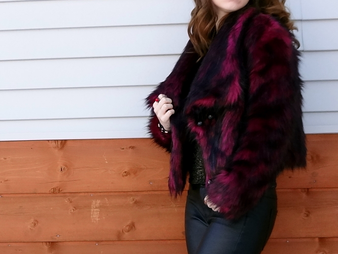 Decree wine black faux fur cropped jacket JcPenney