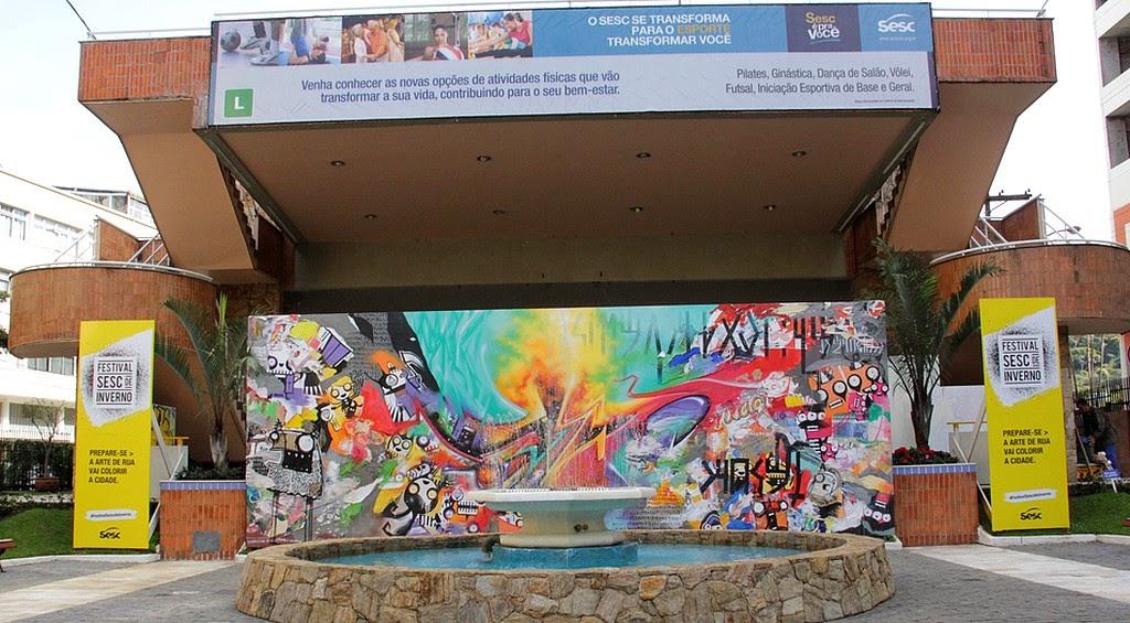 Painel grafitado dá o gostinho do que o Festival Sesc de Inverno vai apresentar