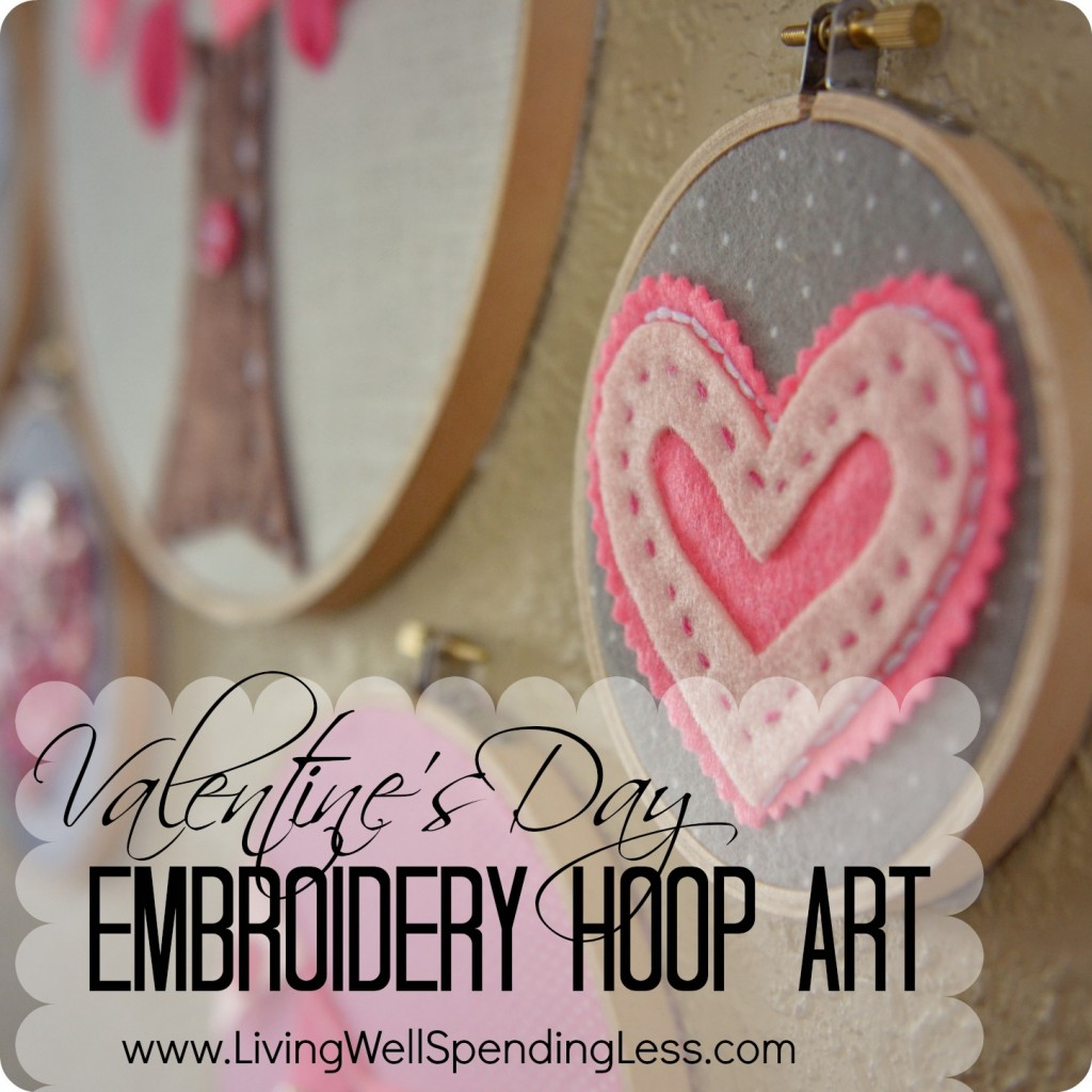this valentine's day embroidery hoop art is sweet and simple with pink hearts