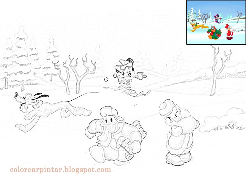 Colorear Pintar: Dibujo de Disney en la Nieve para colorear