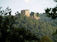 El Castell de Castellcir o de la Popa des de sota la Serra de les Solanes