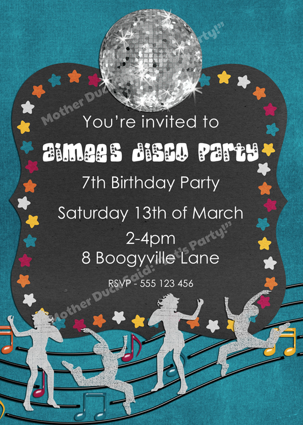 Mother Duck Said Lets Party Disco Dance Party Invitation – Disco Party Invitations Free