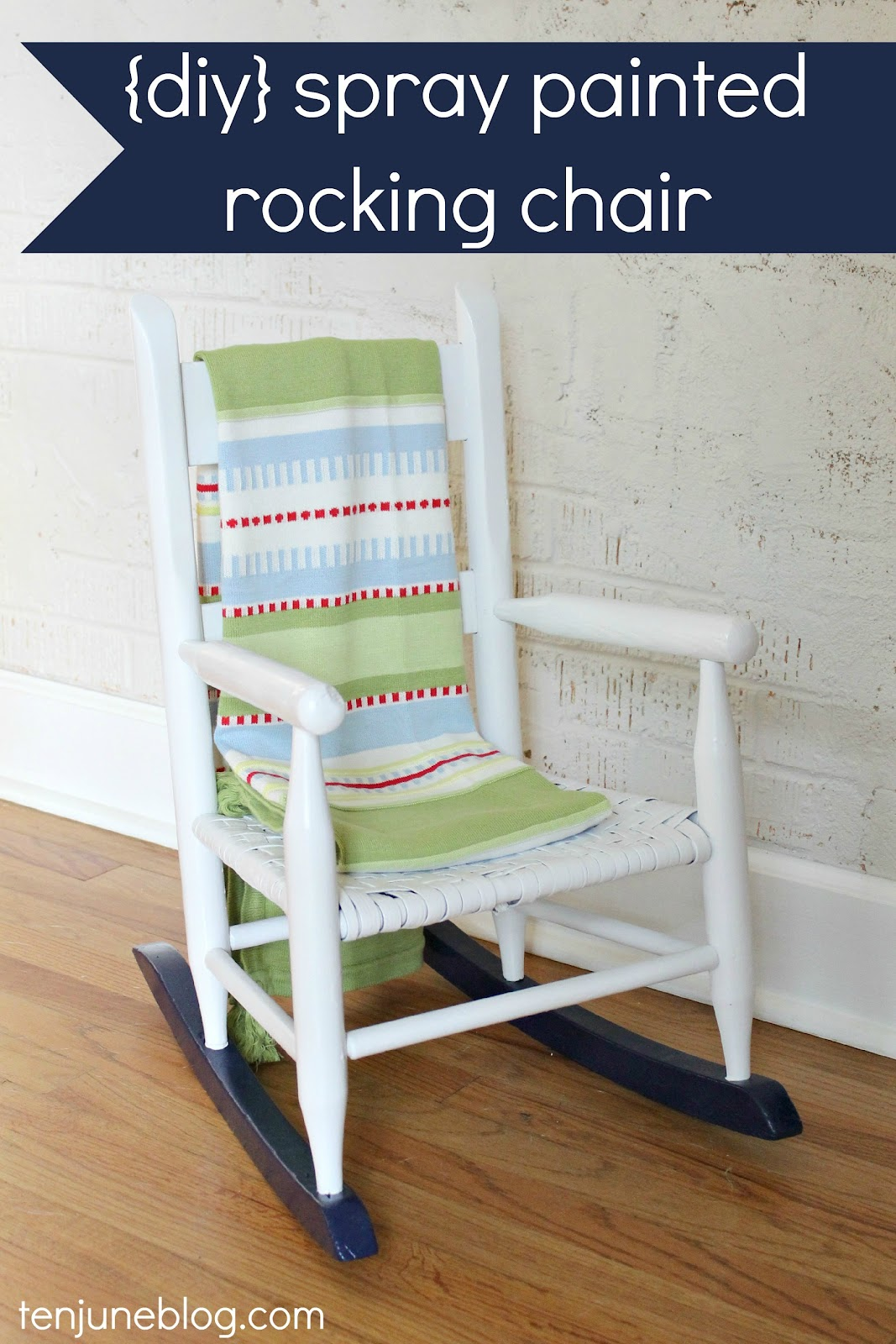 Ten June: Multi-Colored Spray Painted Rocking Chair {A Nursery DIY