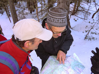 Map reading before the snowshoe hike