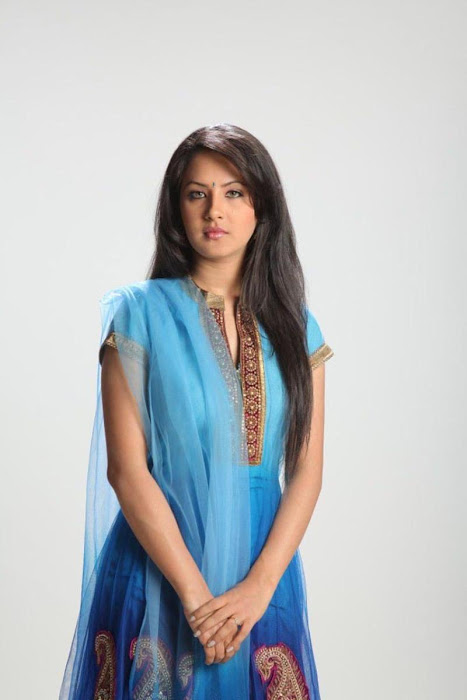 Pooja Bose in Blue Coloured Anarkali Salwar Kameez. Tolly Fashion