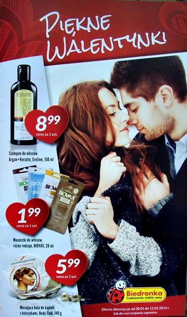 """Gazetka """"Piękne Walentynki"""" - oferta kosmetyczna Biedronki 30.01-12.02.2014r."""