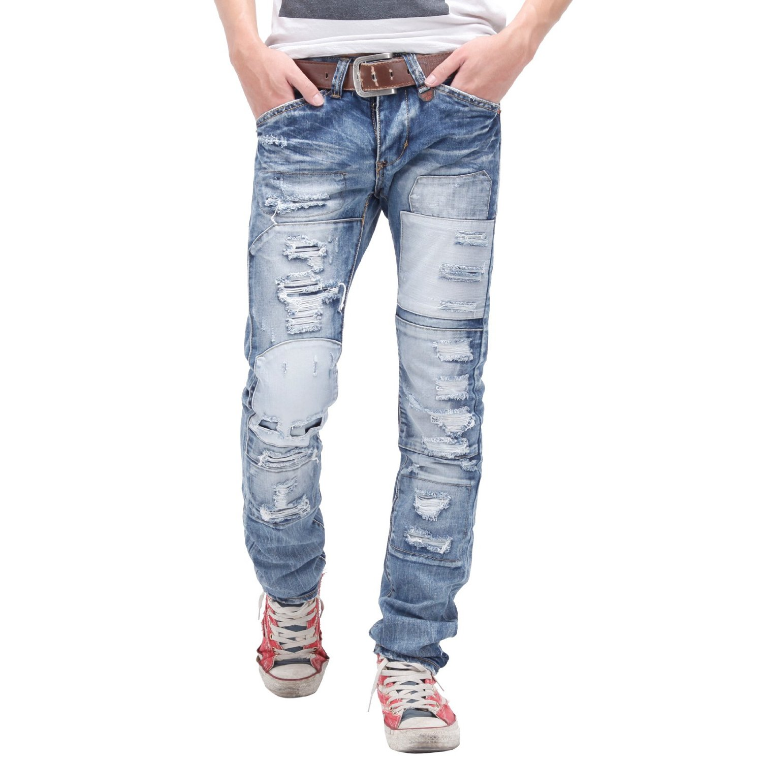 Men's Ripped Jeans Get the grunge look with our men's ripped jeans. They're a great way to inject some attitude into your outfit and will look awesome paired with a leather jacket and a pair of boots.