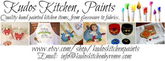 Custom painted aprons, glassware and tea towels